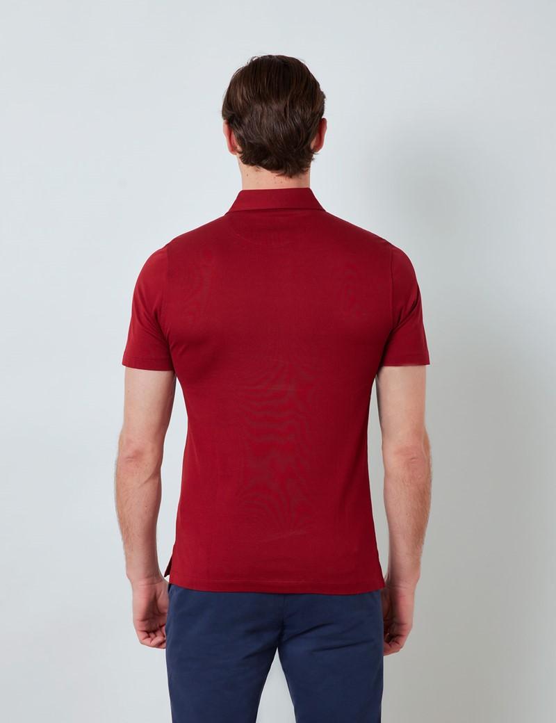 Rust Mercerised Egyptian Cotton Pique Short Sleeve Polo Shirt