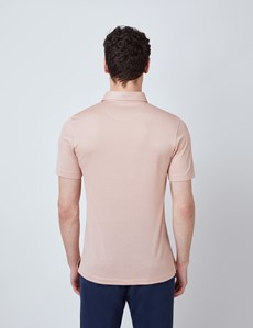 Light Pink Mercerised Egyptian Cotton Pique Short Sleeve Polo Shirt