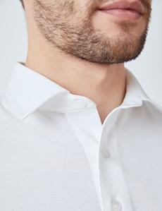 White Mercerised Egyptian Cotton Pique Short Sleeve Polo Shirt