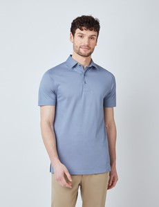 Ocean Blue Mercerised Egyptian Cotton Pique Short Sleeve Polo Shirt