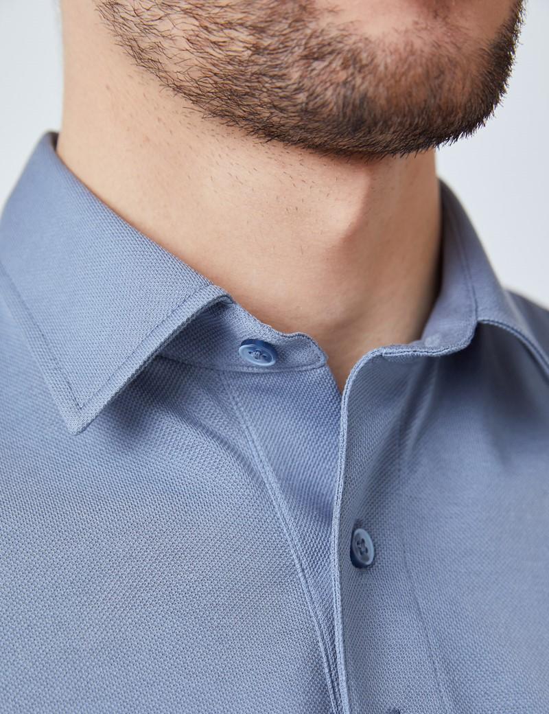 Ocean Blue Mercerised Egyptian Cotton Pique Short Sleeve Polo Shirt
