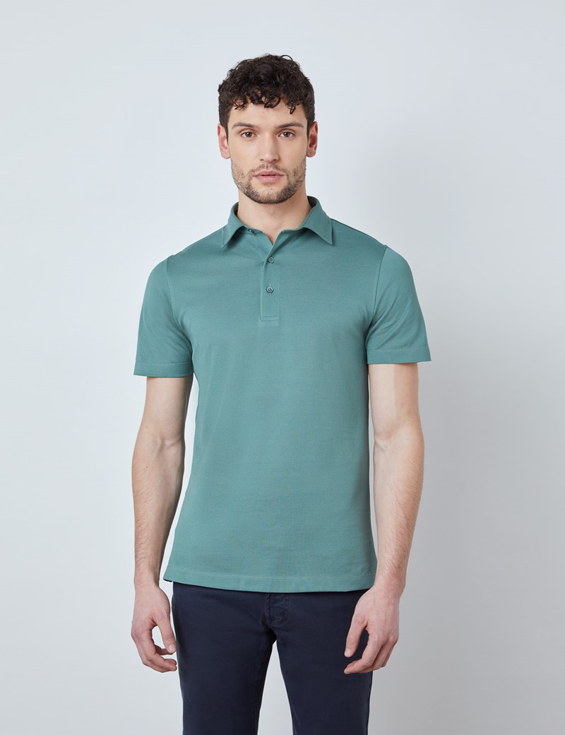 Sea Green Mercerised Egyptian Cotton Pique Short Sleeve Polo Shirt