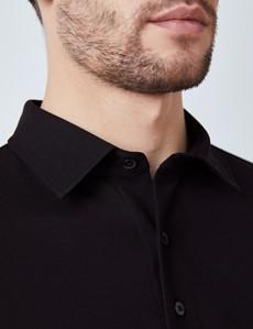 Black Mercerised Egyptian Cotton Pique Long Sleeve Polo Shirt