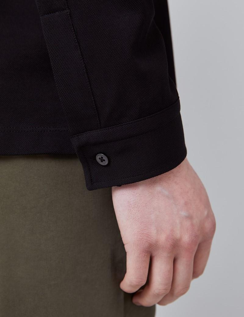 Langarm Poloshirt – Ägyptische Baumwolle – Schwarz Piqué