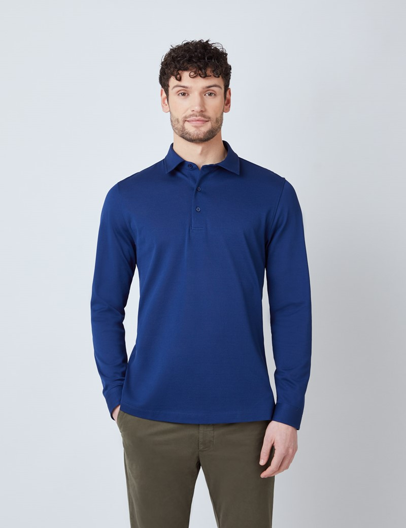 Midnight Blue Mercerised Egyptian Cotton Pique Long Sleeve Polo Shirt