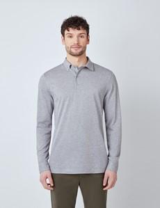 Grey Mercerised Egyptian Cotton Pique Long Sleeve Polo Shirt