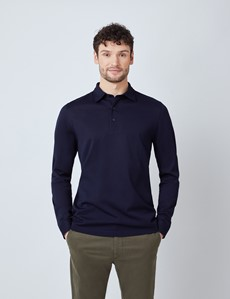 Navy Mercerised Egyptian Cotton Pique Long Sleeve Polo Shirt