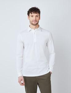 White Mercerised Egyptian Cotton Pique Long Sleeve Polo Shirt