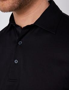 Black Mercerized Egyptian Cotton Single Jersey Short Sleeve Polo Shirt