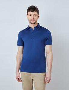 Midnight Blue Mercerized Egyptian Cotton Single Jersey Short Sleeve Polo Shirt