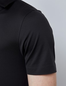 Charcoal Mercerized Egyptian Cotton Single Jersey Short Sleeve Polo Shirt