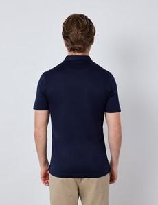 Navy Mercerised Egyptian Cotton Single Jersey Short Sleeve Polo Shirt