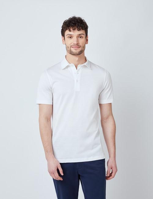 White Mercerized Egyptian Cotton Single Jersey Short Sleeve Polo Shirt
