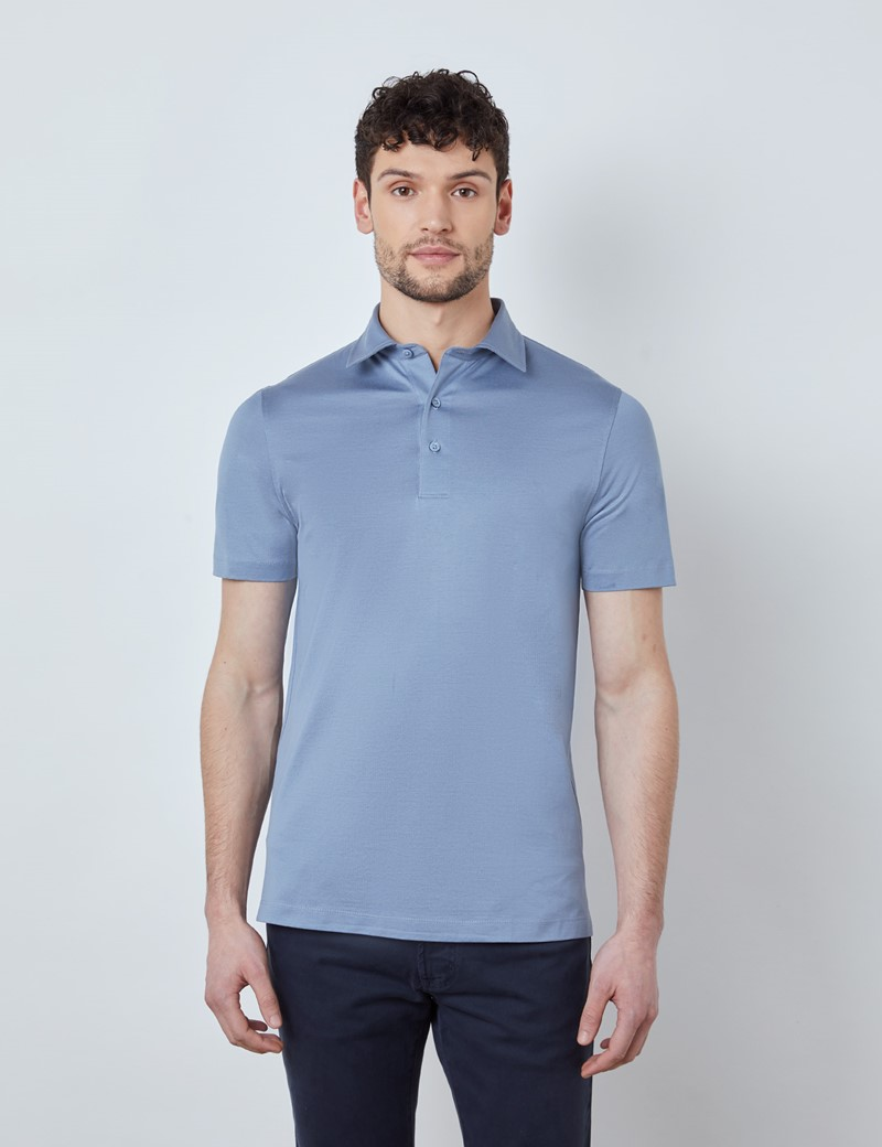 Ocean Blue Mercerized Egyptian Cotton Single Jersey Short Sleeve Polo Shirt