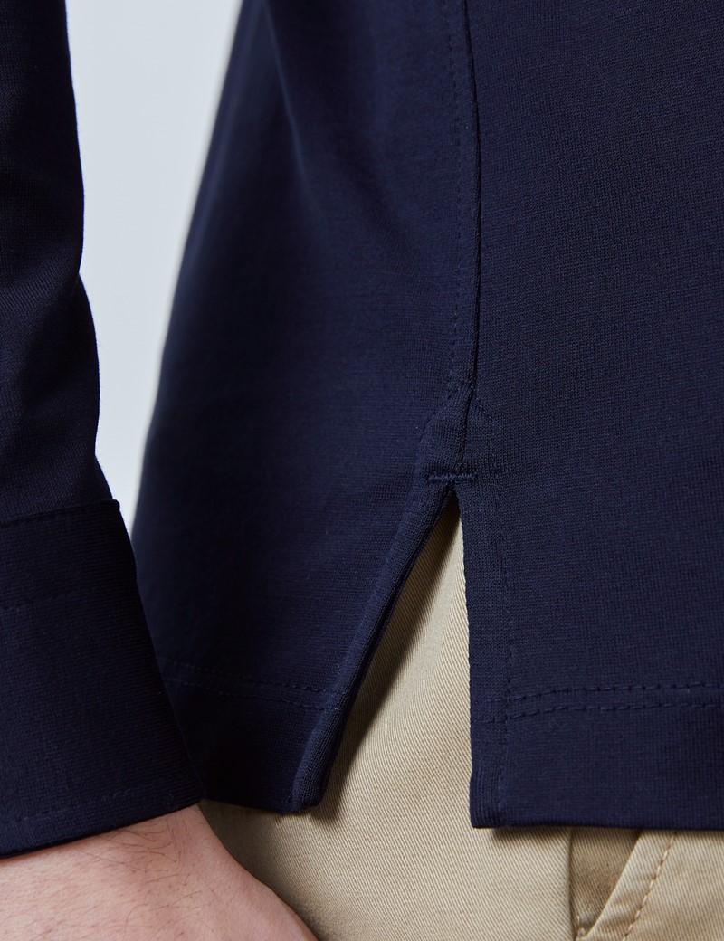 Langarm Poloshirt – Ägyptische Baumwolle – Navy Jersey