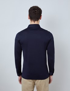 Navy Mercerized Egyptian Cotton Single Jersey Long Sleeve Polo Shirt