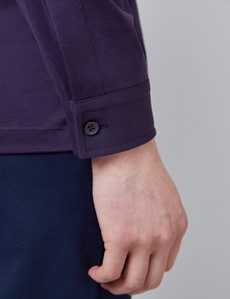 Blackberry Mercerised Egyptian Cotton Single Jersey Long Sleeve Polo Shirt