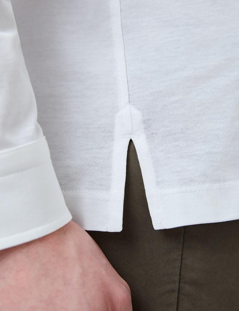 White Mercerized Egyptian Cotton Single Jersey Long Sleeve Polo Shirt