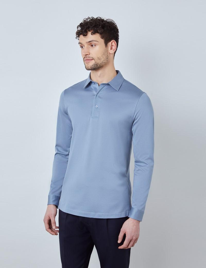 Ocean Blue Mercerized Egyptian Cotton Single Jersey Long Sleeve Polo Shirt