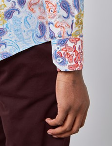 Casualhemd - Relaxed Slim Fit - Kentkragen - orange & blau Paisley