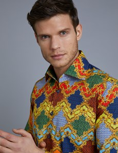 Men's Curtis Blue & Yellow Print Slim Fit Stretch Shirt - Single Cuff