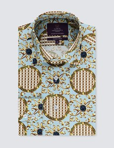 Men's Curtis Light Blue & Yellow Chains Slim Fit Stretch Shirt - Single Cuff