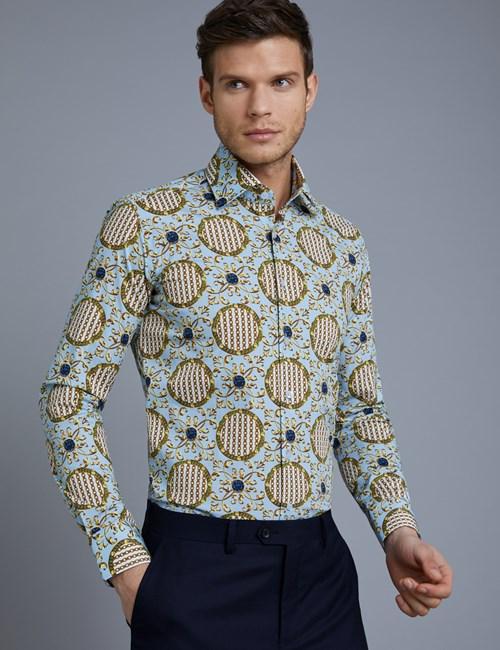Men's Curtis Light Blue & Yellow Chains Slim Fit Stretch Shirt - Single Cuff