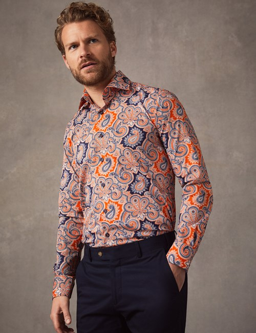 Men's Curtis Orange & Navy Paisley Slim Fit Stretch Shirt - Single Cuff