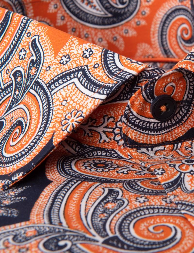 Men's Curtis Orange & Navy Paisley Slim Fit Stretch Shirt - Single Cuff