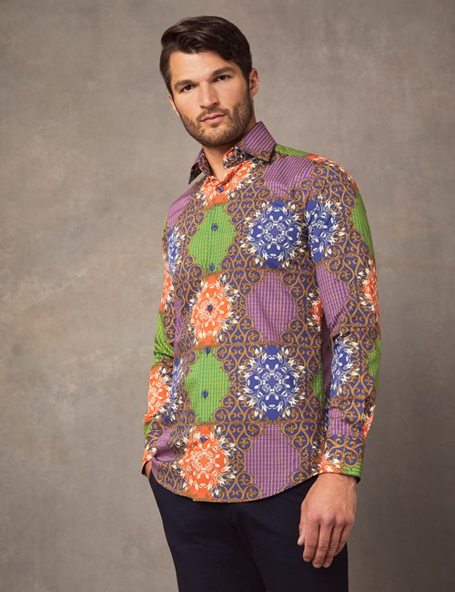 Men's Curtis Royal & Orange Print Slim Fit Stretch Shirt - Single Cuff