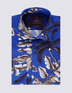 Men's Curtis Blue & Charcoal Animal Print Slim Fit Shirt - Single Cuff