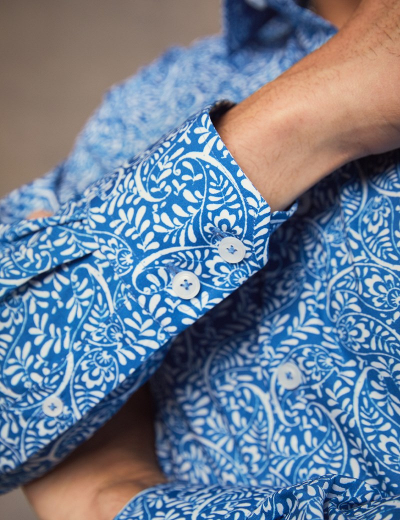 Men's Curtis Blue & White Paisley Slim Fit Shirt - Single Cuff