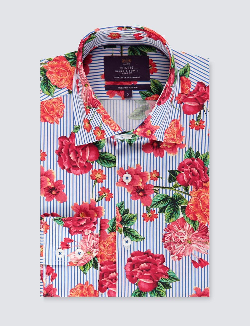 Men's Curtis Navy & Red Stripe Floral Slim Fit Shirt - Single Cuff