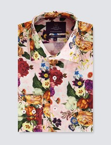 Men's Curtis Pink & Red Floral Slim Fit Shirt - Single Cuff