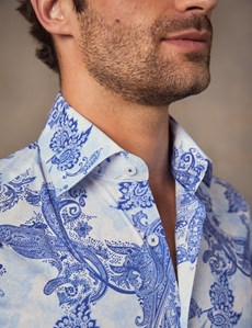 Men's Curtis Blue Faded Paisley Slim Fit Shirt - Single Cuff