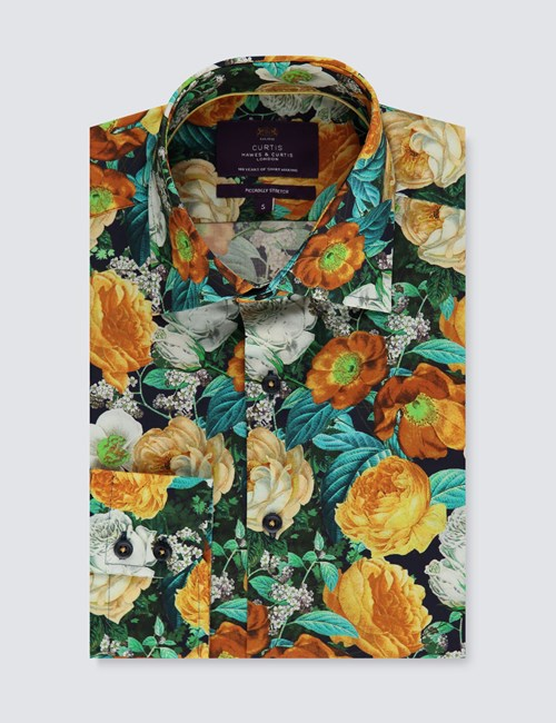 Men's Curtis Black & Orange Floral Slim Fit Shirt - Single Cuff