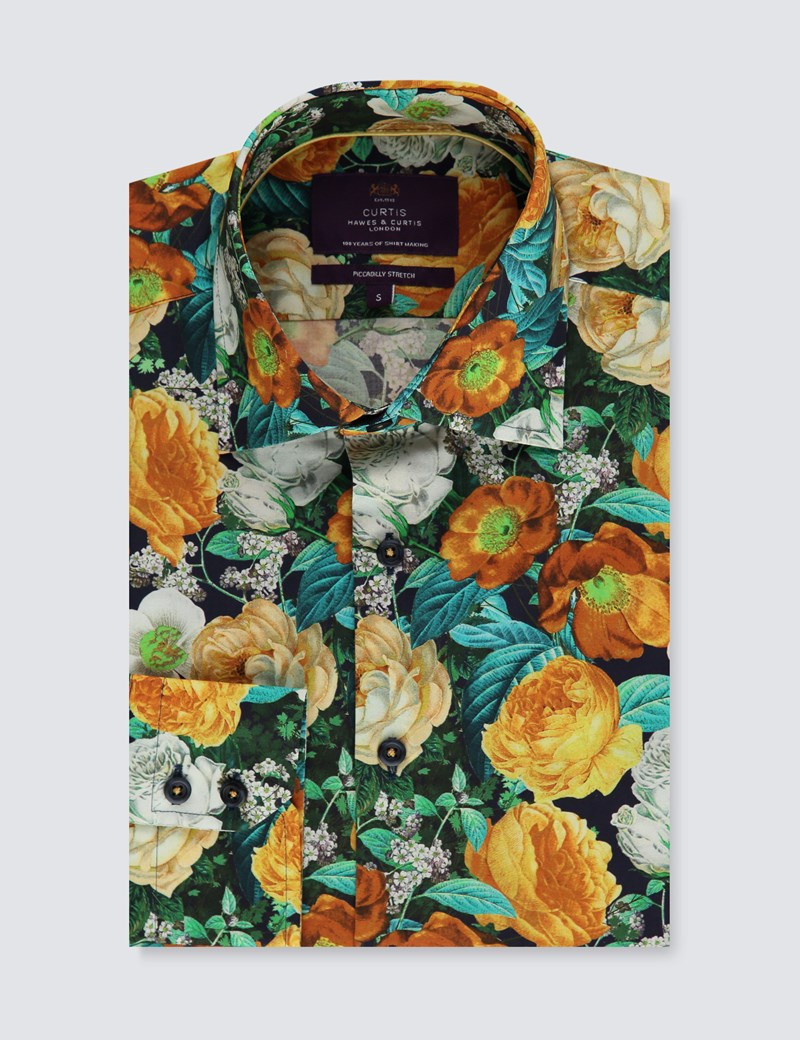 Men's Curtis Black & Orange Floral Slim Fit Shirt - Single Cuff