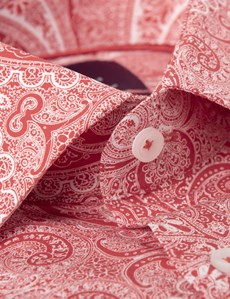 Men's Curtis Red & White Paisley Slim Fit Shirt - Single Cuff