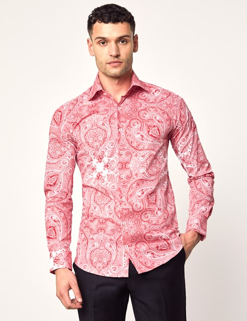 Casual Stretchhemd – Slim Fit – Picadilly – Dekoratives Paisley