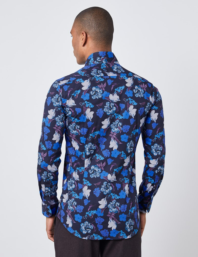Casual Stretchhemd – Slim Fit – Kentkragen – Marineblaue Blumen