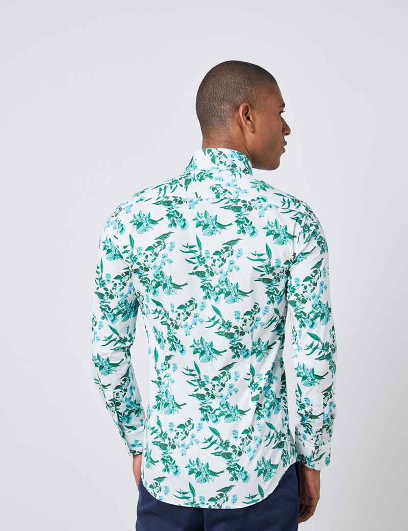 Casual Stretchhemd – Slim Fit – Kentkragen – weiß & grün Vögelchen