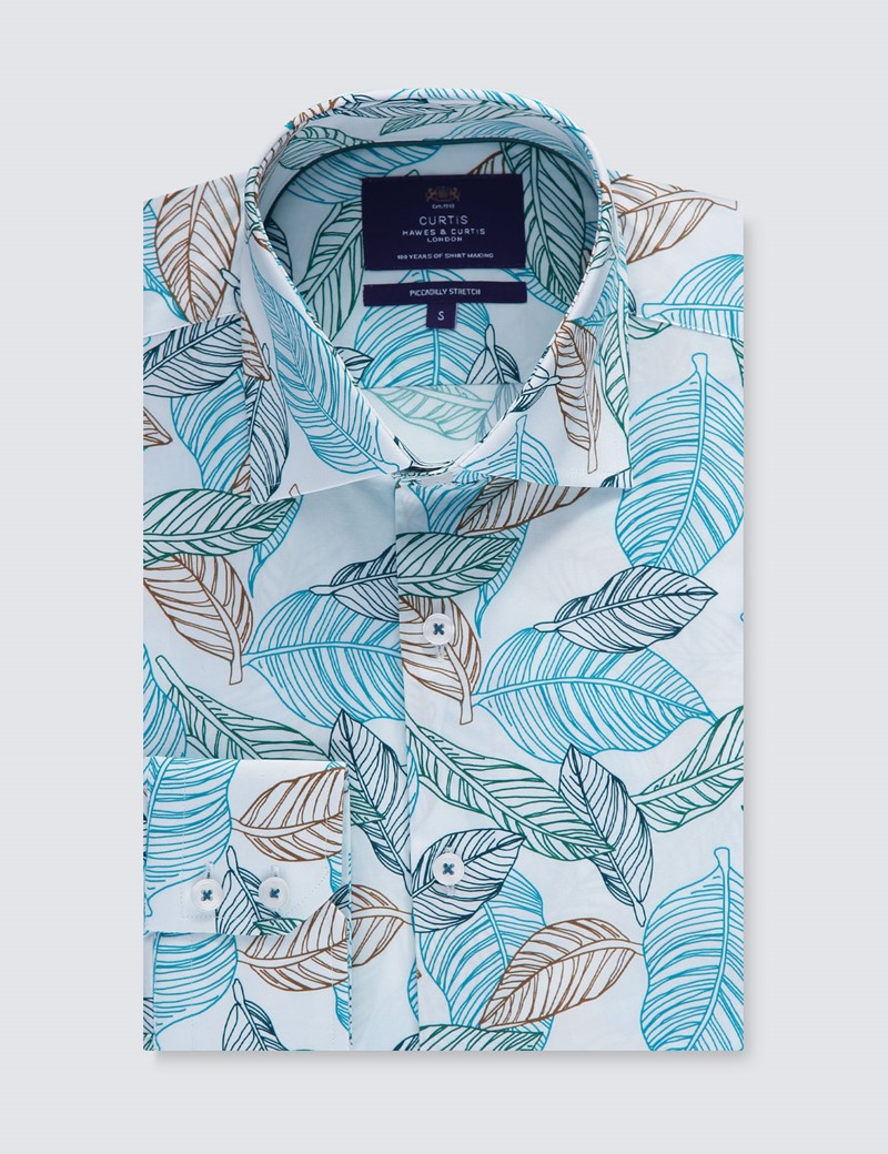 Men's Curtis White & Teal Floral Slim Fit Shirt - Single Cuff