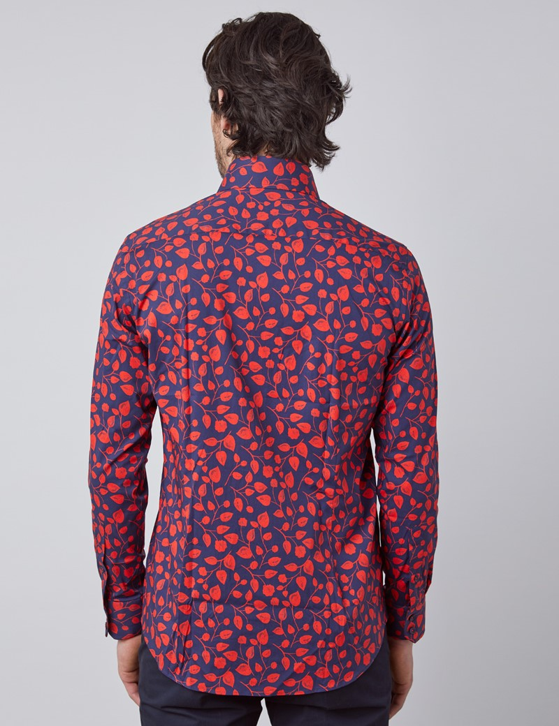 Men's Curtis Navy & Red Floral Slim Fit Shirt - Single Cuff