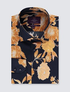 Men's Curtis Navy & Yellow Floral Stretch Slim Fit Shirt - Single Cuff