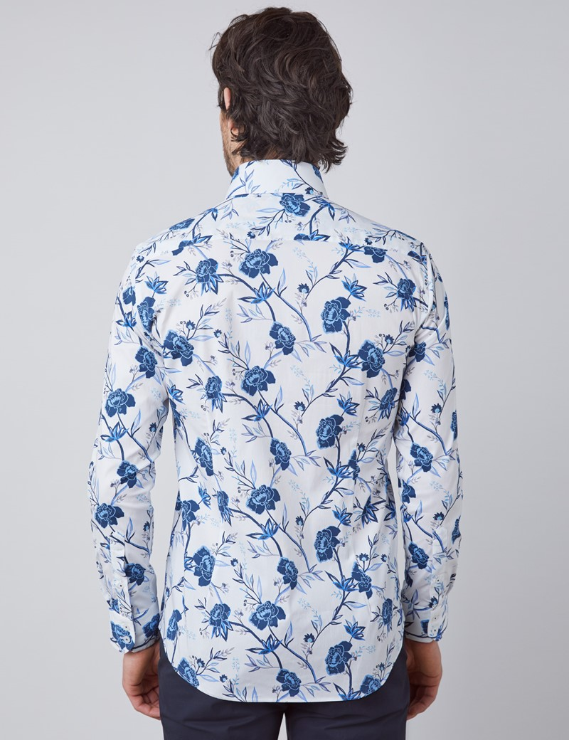 Men's Curtis White & Blue Floral Slim Fit Shirt - Single Cuff