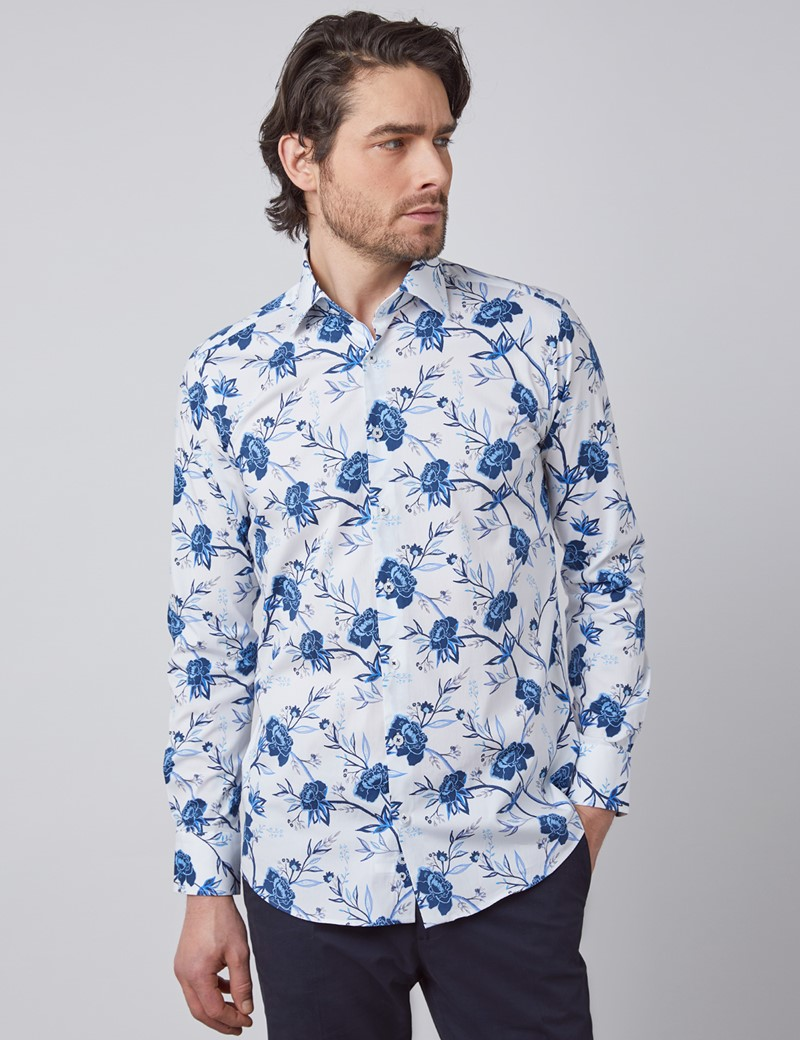Casual Stretchhemd - Slim Fit - Kentkragen - weiß mit blauen Blumen