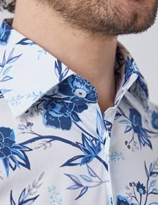Men's Curtis White & Blue Oriental Floral Stretch Slim Fit Shirt - Single Cuff