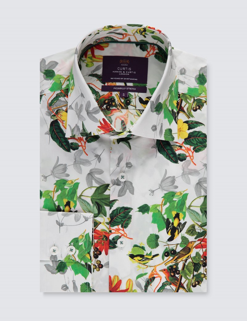 Men's Curtis White & Green Floral Slim Fit Shirt - Single Cuff