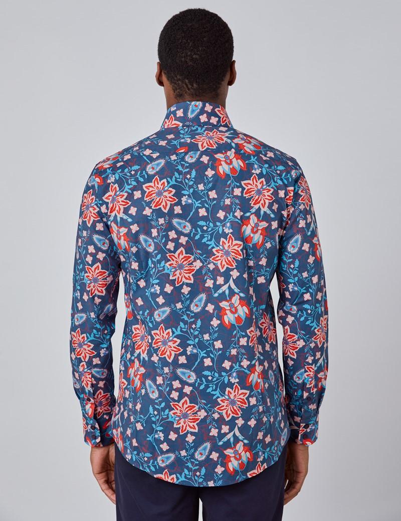 Casual Stretchhemd - Stretch Slim Fit - Kentkragen - navy & rot floraler Print