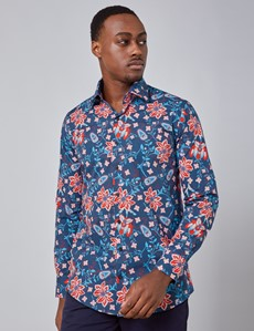Men's Curtis Navy & Red Artisan Floral Stretch Slim Fit Shirt - Single Cuff